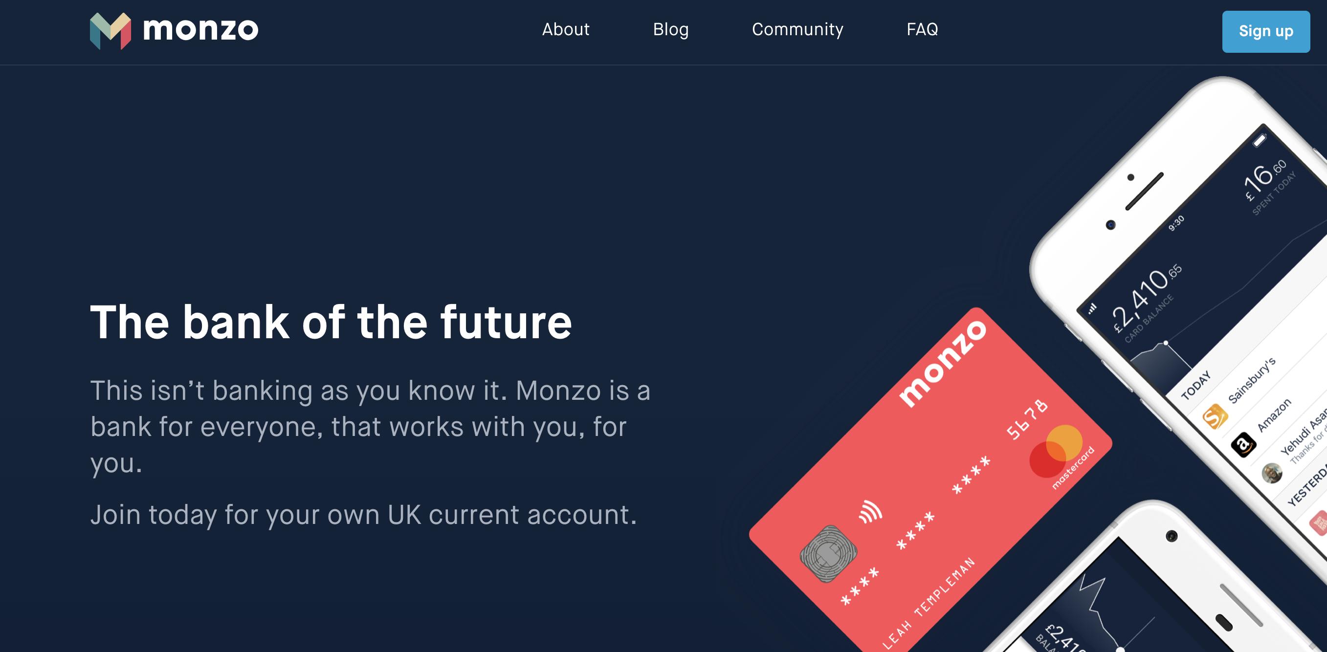 Monzo homepage